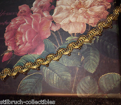 Antique vintage heavy gold metal lace trim narrow gimp ribbon-work or doll 3/8""