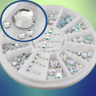 5 Sizes Acrylic Nail Art Decoration 3D Clear White Glitter Rhinestones New