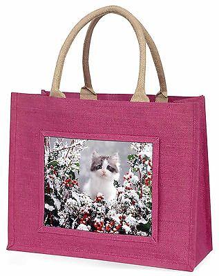 Winter Schnee Kätzchen Große Rosa Einkaufstasche Weihnachten Geschenkidee,