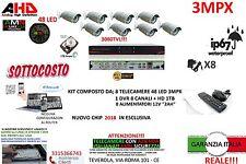 KIT VIDEOSORVEGLIANZA AHD DVR 8 CANALI 8 TELECAMERA INFRAROSSI 3000 TVL HD1TB 3M