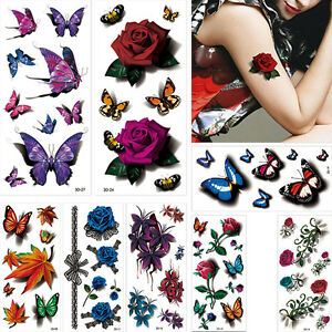 1367c12d80fcd 8 Pieces 3D Temporary Tattoo Stickers Butterfly Rose Flower Pattern ...