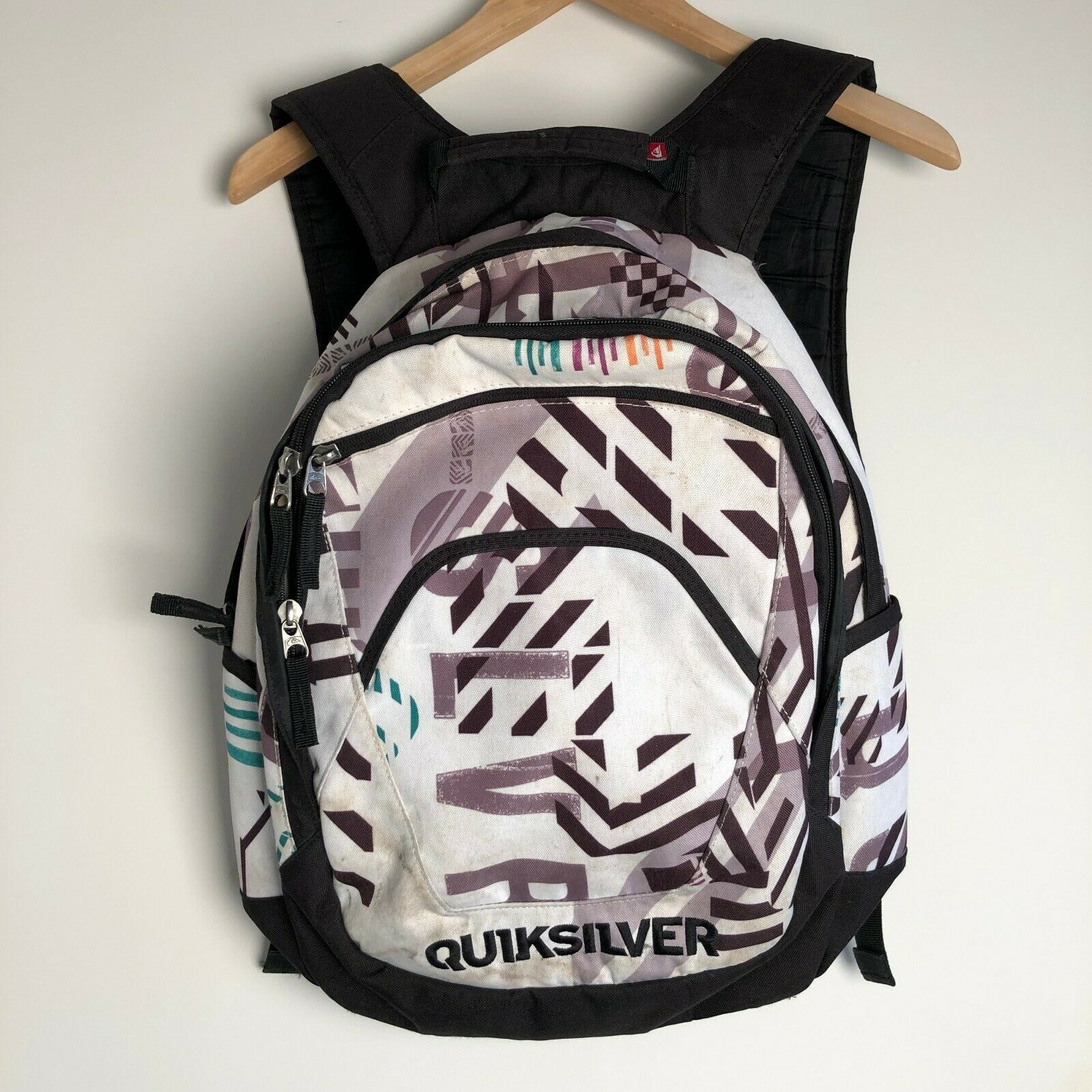 Quiksilver White Graphic Rucksack Backpack School Walking