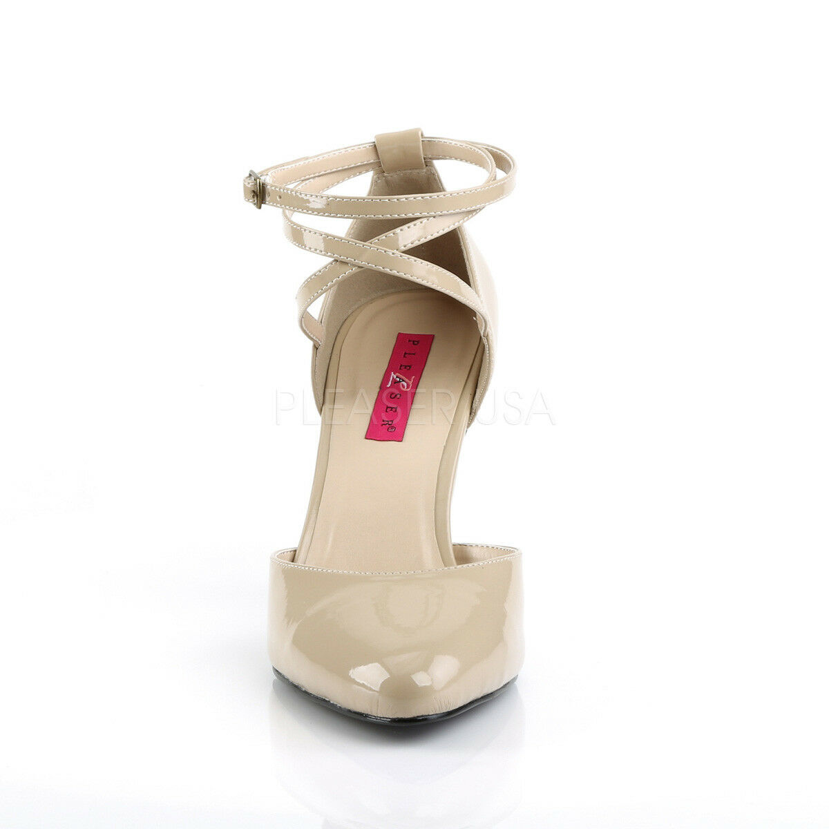 PLEASER Rosa LABEL LABEL LABEL DREAM-408 CREAM PATENT CRISS-CROSS ANKLE STRAP schuhe 23ff3b