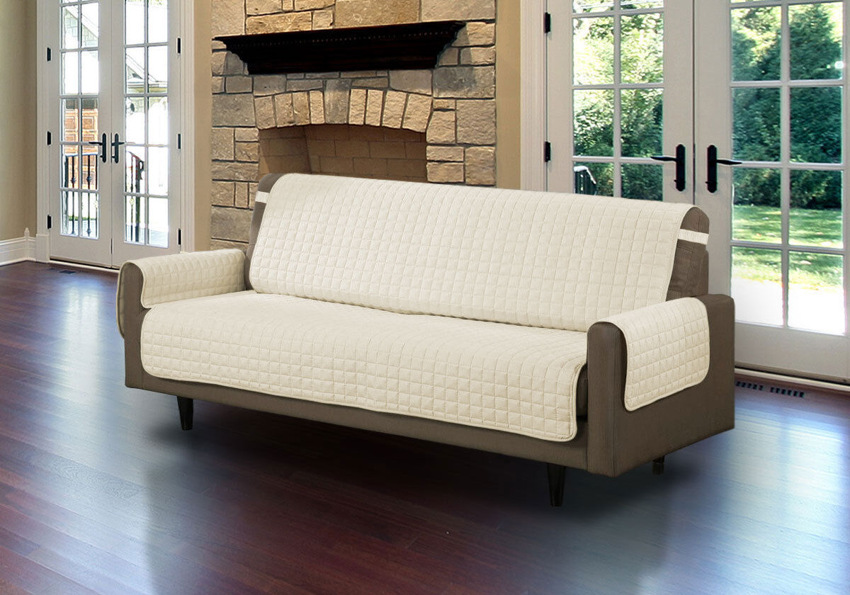 Quilted Microfiber Furniture Pet Protector Beige Chair Loveseat Sofa