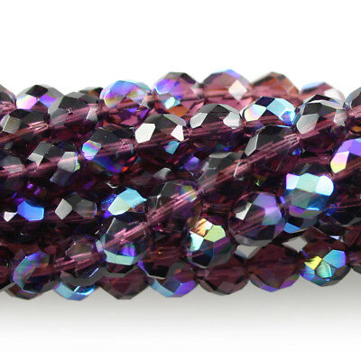 25 8mm Round Faceted Czech Glass Fire Polish Beads Amethyst Purple Vitral