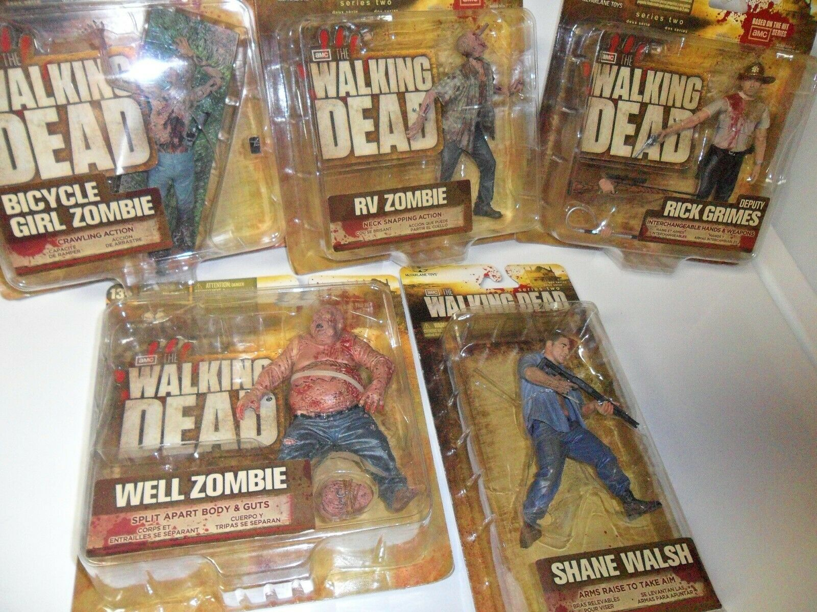 The Walking Dead TV Series Two SET of 5 Figures amc McFarlane Toys Sealed NIB