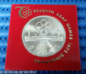 1973 Singapore Seventh SEAP Games Commemorative $5 Silver Coin