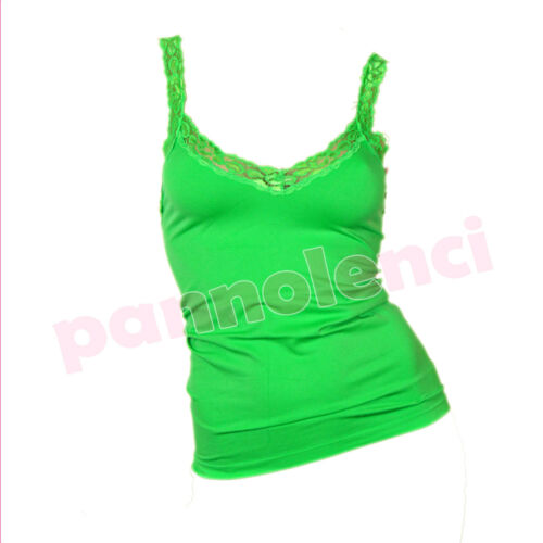Top canotta sottogiacca pizzo floreale tanktop donna canottiera stretch W232C