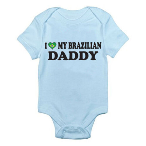 I LOVE MY BRAZILIAN DADDY Fun Themed Baby Grow Father Dad Brazil Suit