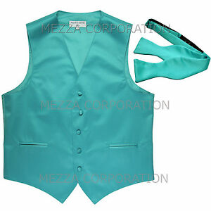 New Men's Formal Vest Tuxedo Waistcoat with free style self-tie Bowtie aqua blue