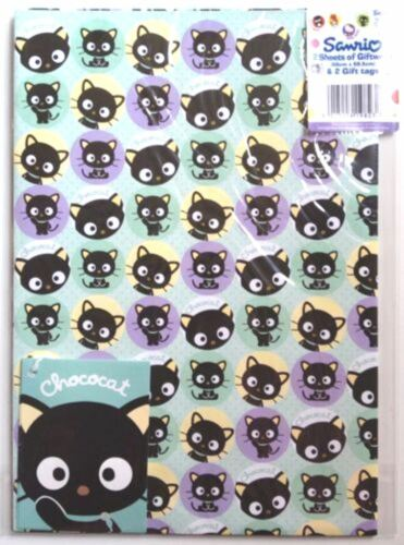 "Official Licensed /""CHOCOCAT/"" Gift Wrap Sheets And Tags x 2"