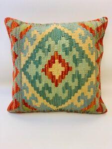 Vintage-Green-Multi-Coloured-Antique-Cushion-Cover-of-Afghan-Handmade-Wool-Kilim