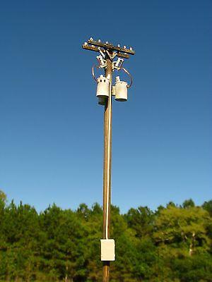 HO Scale 40 Ft. Pole Mount Transformer Bank for Model Railroad (23102)