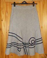 PER UNA navy blue white stripe ribbon applique long riding flared skirt 8 36 M&S