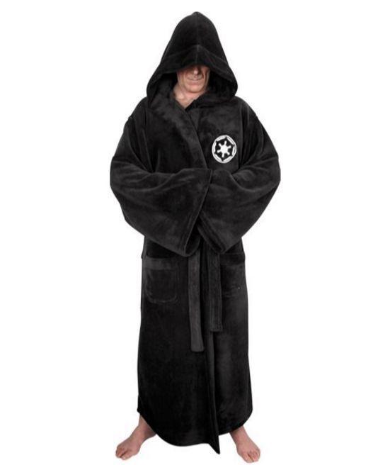 Star Wars Galactic Empire Mens Robe Belt Hooded Fleece Dressing Gown M - XXL
