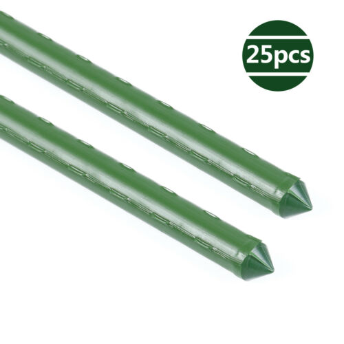 Details about  /Garden Stakes 24//35 Inches Steel Plant Tomato Sturdy Sticks Tree Support 25pcs