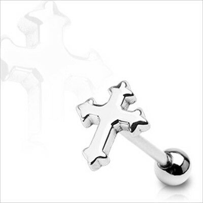 """Piece Or Pair 14g 5/8"""" Gothic Christian Cross Tongue Barbell 316L Surgical Steel"""