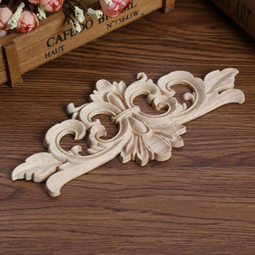 Wood Carved Corner Onlay Applique Unpainted Frame Decal For Home Furniture Decor