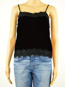 dc3d06c74b75c5 Bar III Womens Black Lace Trim Velvet Adjustable Straps Camisole Top ...