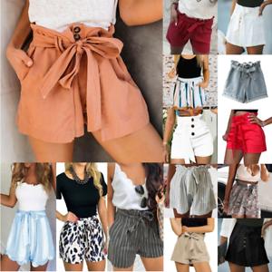 UK New Womens Cotton Linen Shorts High Waist Summer Casual Beach Pants