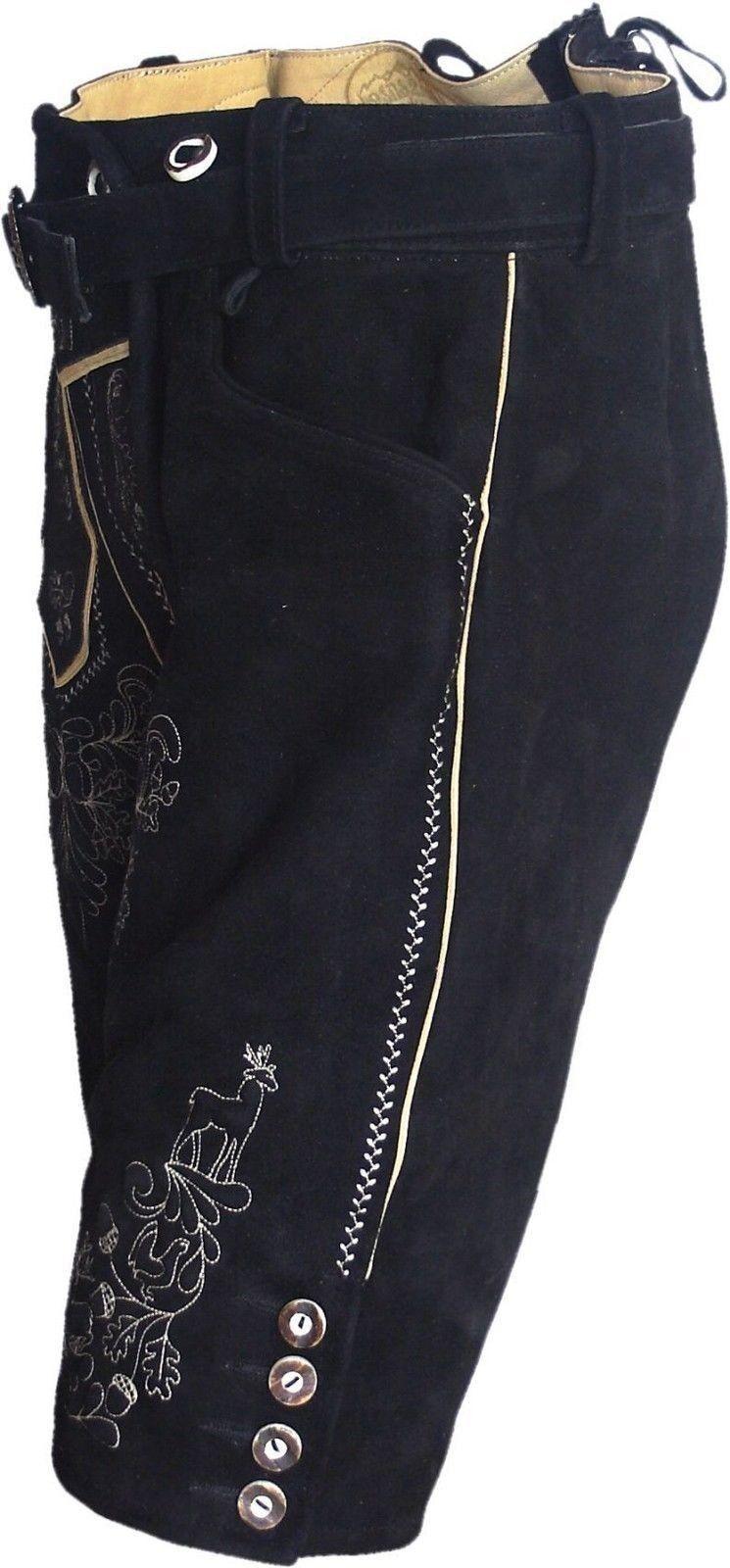 Breve Breve Breve Trachten Lederhose travi platter Pantaloni Wild CAVALLETTO PELLE NERO RICAMATO 8d063d