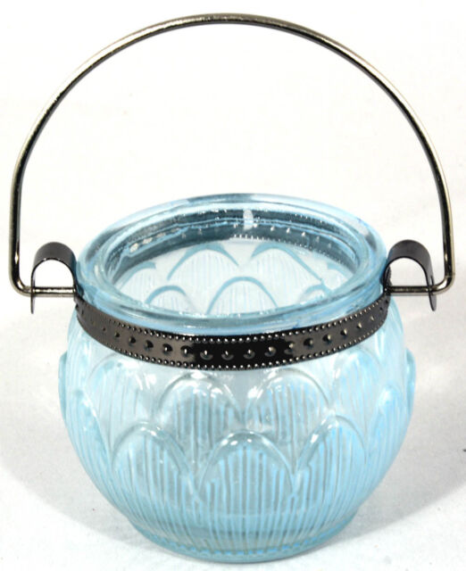 Elegant Glass TEALIGHT HOLDER ~ ~ ~ hanging handle hook tea light candle pastel