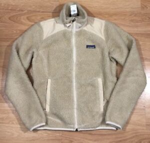 PATAGONIA RETRO X Jacket Womens Size Small Deep Pile Windproof Cream ... 499be4b729