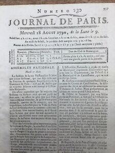 Compagnie des Indes 1790 Mirabeau M de Barmond Journal Révolution Française