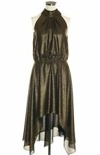 REDUCED NEW VERSACE GOLD LAME HALTERNECK DRESS SIZE:8 (IT40)