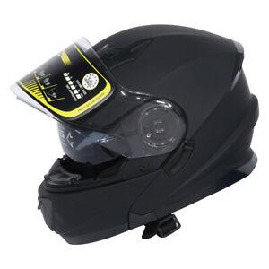 Matte-Black-DOT-Dual-Visor-Full-Face-Modular-Flip-Up-off-road-Helmet-Sun-Shield