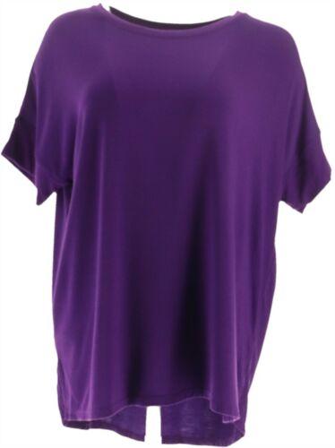 Cuddl Duds Softwear Stretch Short Slv Tee Dark Purple M NEW A346853