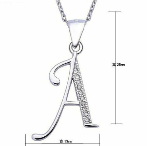 925 Sterling Silver Alphabet Letters A-Z Pendant Necklace Cubic Zirconia Jewelry