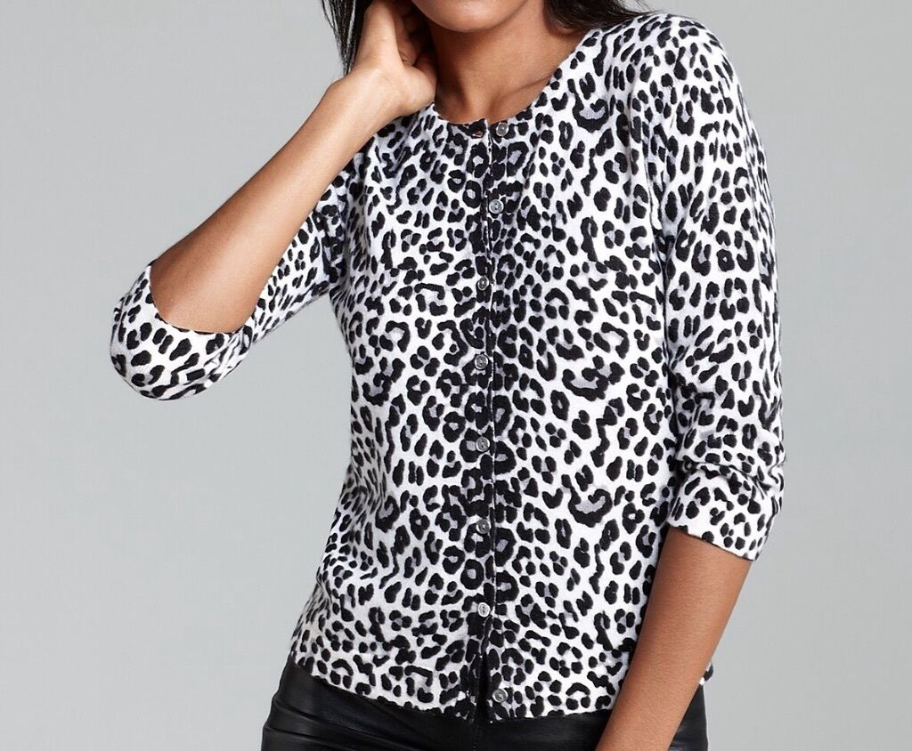 Magaschoni Snow Leopard Print Cashmere Cardigan