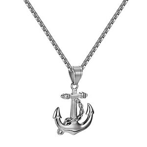 Mens anchor pendant stainless steel white gold finish free 24 inch image is loading mens anchor pendant stainless steel white gold finish aloadofball Gallery