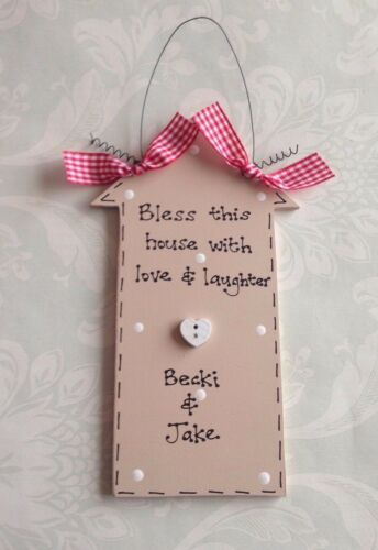 Personalised LOVE FRIENDS /& LAUGHTER ~ New Home Sweet Home Wedding Present Gift