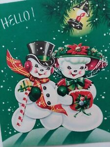 Vtg-SNOW-Couple-Charming-SNOWMAN-amp-LADY-Embossed-CHRISTMAS-GREETING-CARD