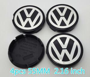 4-un-55MM-VW-VOLKSWAGEN-Rueda-Llanta-Centro-Tapacubos-ajuste-Escarabajo-Jetta-Cabrio-Golf