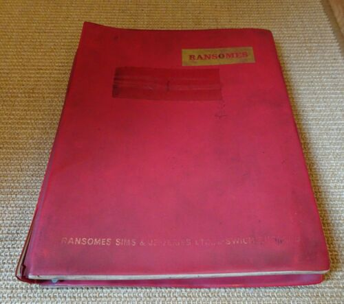 12 Ransomes Ploughs Instructions & Illustrated Parts Lists in folder