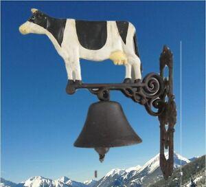 Campana-de-Pared-Hierro-Fundido-Vaca-Puerta-Gescher-Suena-Buen-Vintage-Deco
