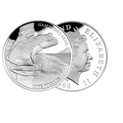 28.28g Silver Proof $5 Hamilton/'s Frog Coin 2008 New Zealand Proof Set Inc