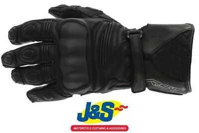 RST GT CE Mens Leather Motorcycle Gloves Black White CE Approved 2151