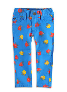 Girls-BNWT-034-Pumpkin-Patch-034-Retro-Mod-Blue-Stretch-Floral-Skinny-Jeans-Sizes-5-6