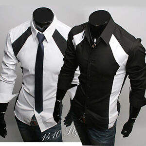 K6036 New Mens Casual Luxury Stylish Dress Slim Shirts 2 Colour ...