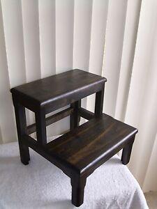 Image Is Loading Solid Alder Bed Step Stool Ebony Wooden Wood
