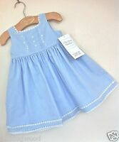 Strasburg Crystal Blue Classic Embroidered Beach Slip Portrait Dress 6m - 9m