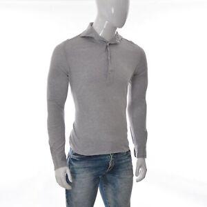 Suitsupply-Cotone-Egiziano-Uomo-Pique-Polo-Manica-Lunga-Size-38-15-Grey