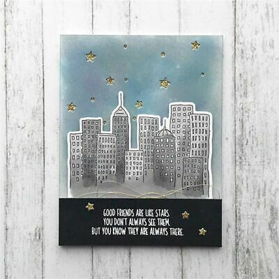 City Town Building Cutting Dies Trees Houses Clear Stamps Dies Scrapbooking DIY
