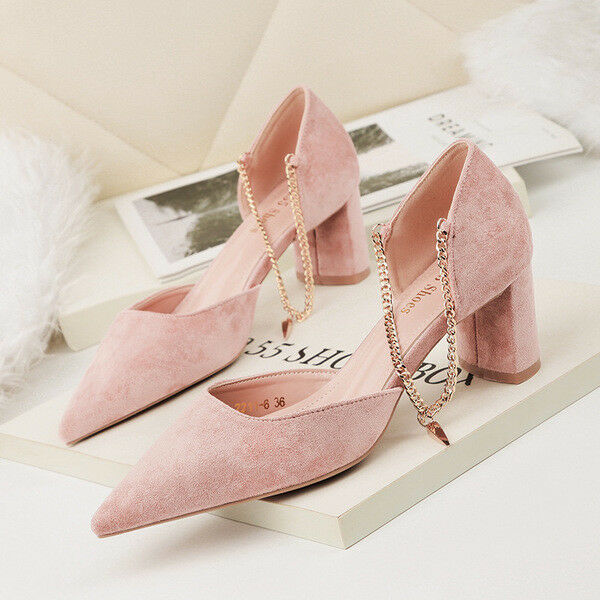 shoes court shoes elegant woman heel square 5 cm pink comfortable 1441