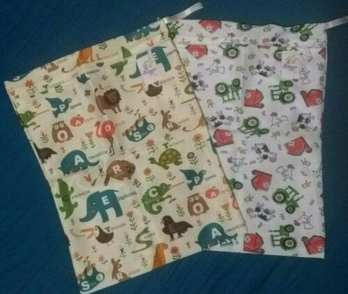 2 x Baby XL Waterproof Reusable Cloth Nappy Wet /& Dry Bags Swimmer Zipper Tote