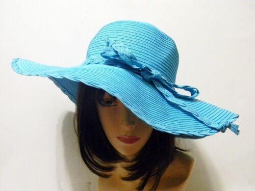 Straw Paper Hat Floppy Ribbon Fashion Summer Beach Spring Sun NEW Bow